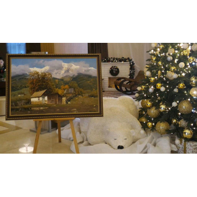 Горный пейзаж маслом на выставке в Сочи