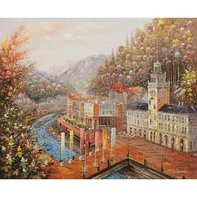 Роза Хутор. Роза Долина. Вид на Романов мост и здание Ратуши. Высота 560 м