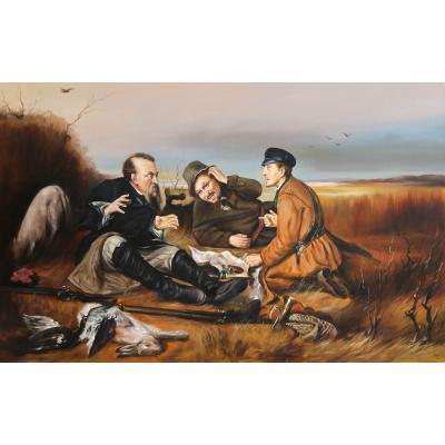 Охотники на привале. Вольная копия с картины В. Перова (на подрамнике)